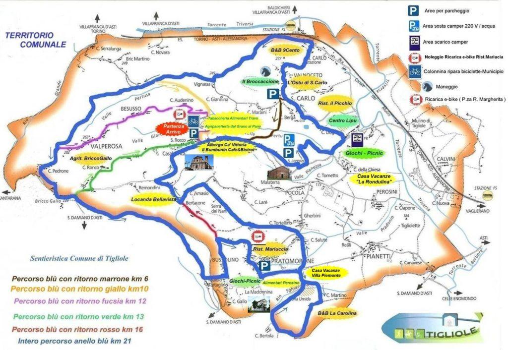 Mappa dei Sentieri di Tigliole
