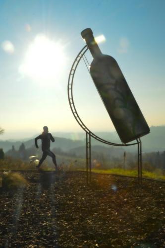 Bottiglia Gigante del Comune a Mombercelli al tramonto